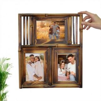 3'lü 10x15 Bambu Duvar Fotoğraf Çerçevesi - Thumbnail