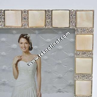 Swarovski 10x15 Sedef Fotoğraf Çerçevesi - Thumbnail