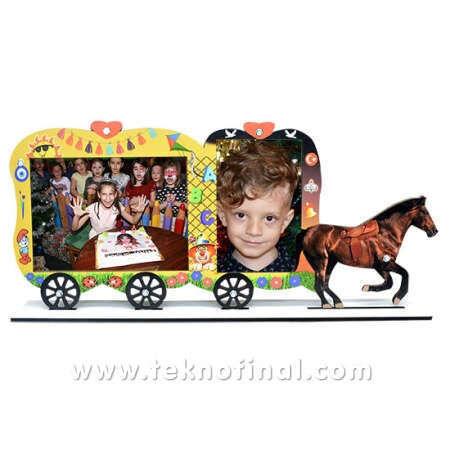 2'li Yazısız Fayton At Arabası Okul Çerçevesi