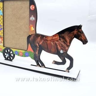 2'li Yazısız Fayton At Arabası Okul Çerçevesi - Thumbnail