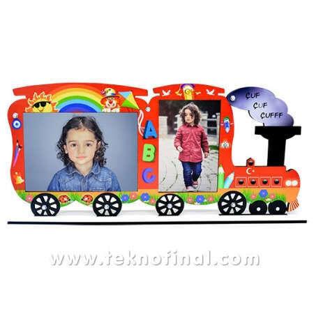 2'li Yazısız Lokomotif Tren Okul Çerçevesi