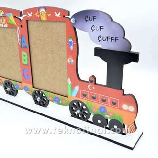 2'li Yazısız Lokomotif Tren Okul Çerçevesi - Thumbnail