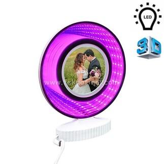 3d Ledli Mor Işıklı Aynalı Yuvarlak Fotoğraf Çerçevesi - Thumbnail