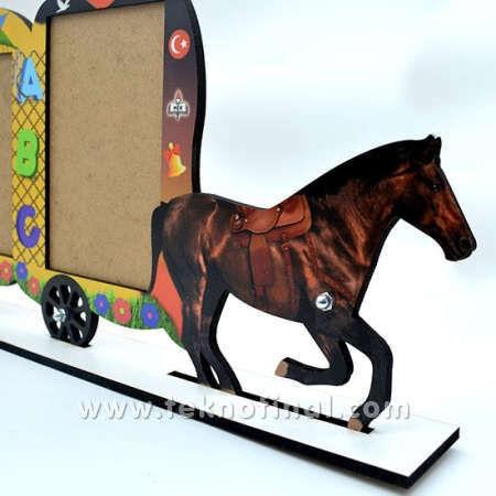 3'lü Yazısız Fayton At Arabası Okul Çerçevesi