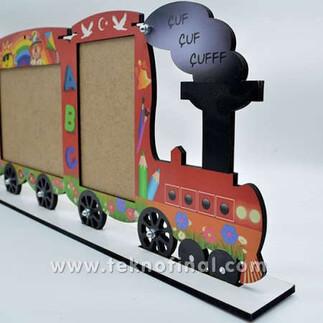 3'lü Yazısız Lokomotif Tren Okul Çerçevesi - Thumbnail