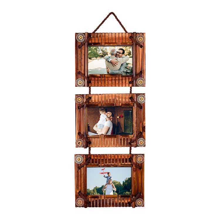 3lü 10x15 Bambu Duvar Fotoğraf Çerçevesi