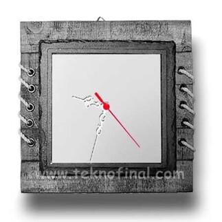 NobbyStar - Ahşap Doğal Taşlı Baskı Alanı Metal Saat Çerçeve - (24x24cm) (1)