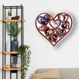 NobbyStar Hediye - Ahşap 8 Fotoğraflı Kalp Tasarımlı Duvar Fotoğraf Çerçevesi (1)