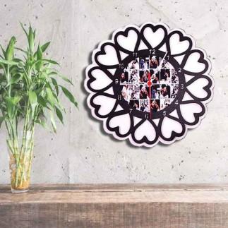 Ahşap Kalp Tasarımlı Fotoğraflı Beyaz Duvar Saati - Thumbnail