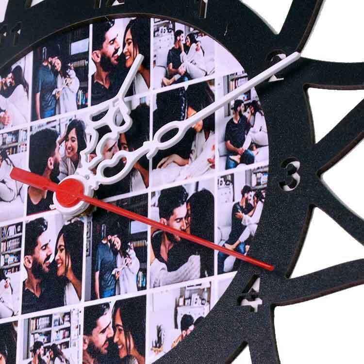 Ahşap Kalp Tasarımlı Fotoğraflı Beyaz Duvar Saati