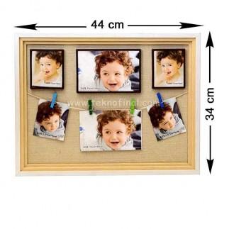 Ahşap İpli Mandallı Kendinyap Magnet Anı Çerçeve 34x44 Cm - Thumbnail