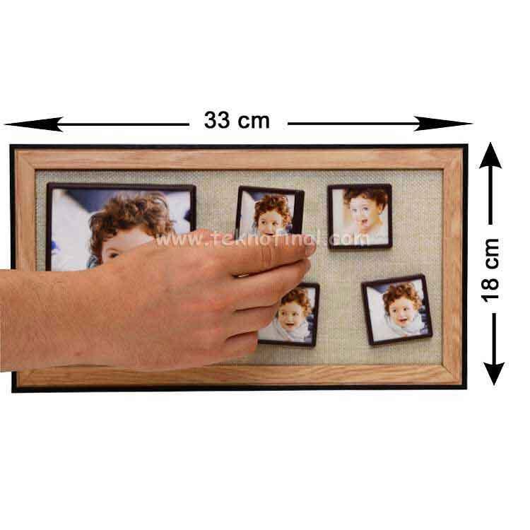 5'li Ahşap Kendinyap Fotoğraflı Magnet Çerçeve 18x33 Cm