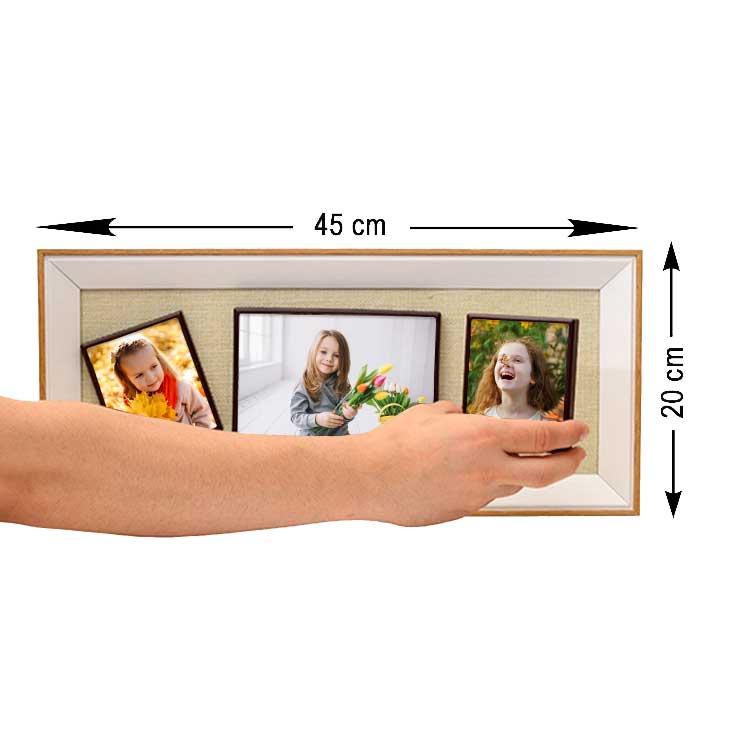 3'lü Ahşap Kendinyap Fotoğraflı Magnet Anı Çerçeve 20x45 Cm