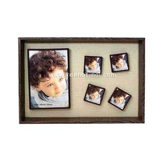 5'li Ahşap Kendinyap Fotoğraflı Magnet Anı Çerçeve 22x32 Cm - Thumbnail