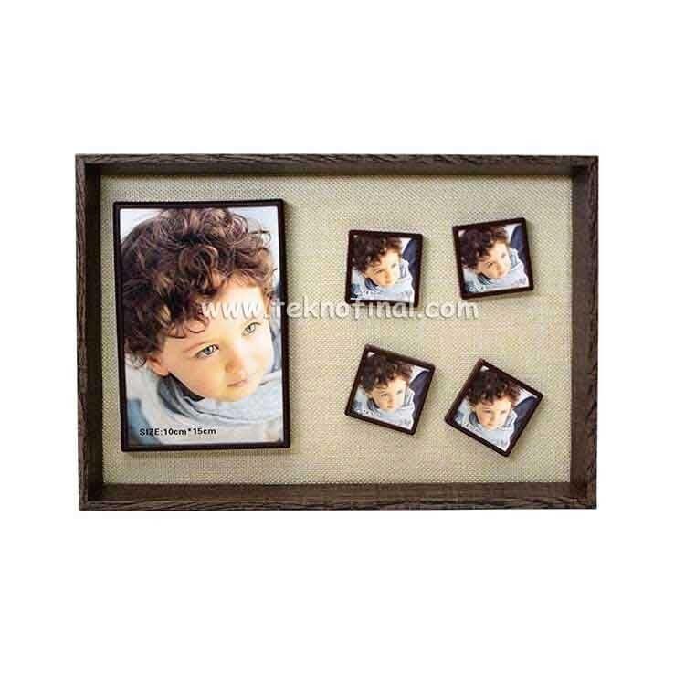 5'li Ahşap Kendinyap Fotoğraflı Magnet Anı Çerçeve 22x32 Cm