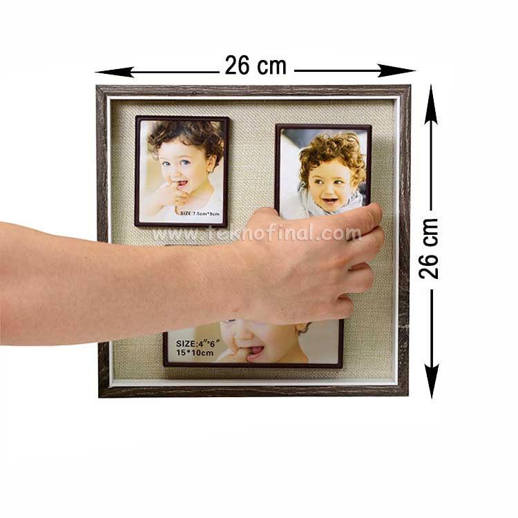 3'lü Ahşap Kendinyap Fotoğraflı Magnet Çerçeve 26x26