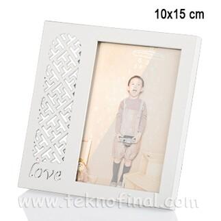 Ahşap Love Desenli Krem Fotoğraf Çerçevesi 10x15 - Thumbnail