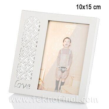 Ahşap Love Desenli Krem Fotoğraf Çerçevesi 10x15