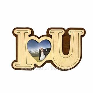 Ahşap I Love You Magnet - Thumbnail