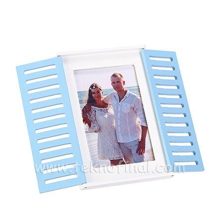 Ahşap Mavi Pencereli Beyaz Fotoğraf Çerçevesi 10x15
