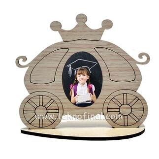 Ahşap Standlı Kral-Kraliçe Arabası Çerçeve - Thumbnail
