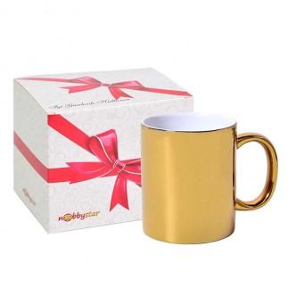 NobbyStar Hediye - Sublimasyon Aynalı Gold - Altın Metalik Kupa Bardak - Kutulu (1)