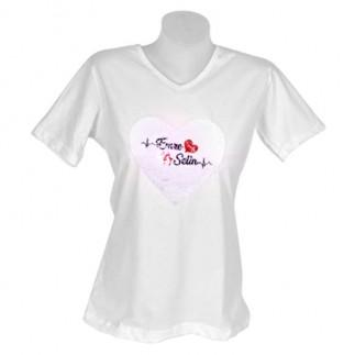 Best Hediye - Bayan Sihirli Pullu Sublimasyon Pamuklu T-shirt V-Yaka (1)