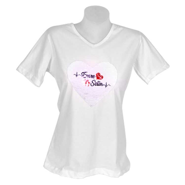 Bayan Sihirli Pullu Sublimasyon Pamuklu T-shirt V-Yaka
