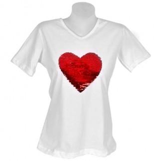 Bayan Sihirli Pullu Sublimasyon Pamuklu T-shirt V-Yaka - Thumbnail