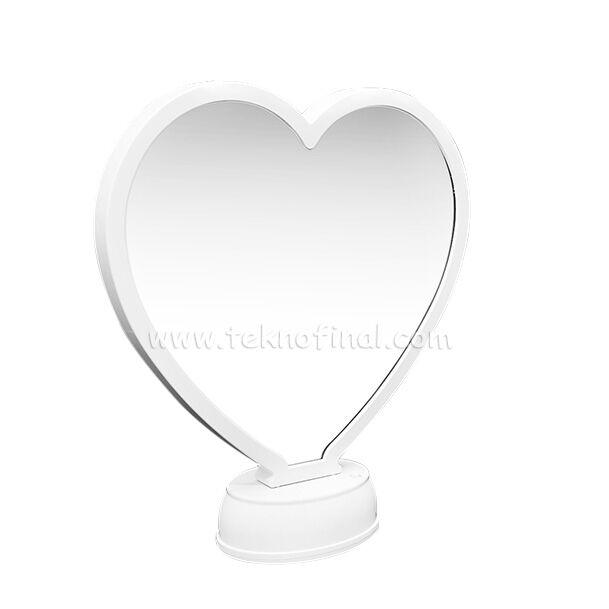 3d Beyaz Led Işıklı Aynalı Kalp Fotoğraf Çerçevesi