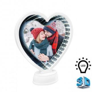 3d Beyaz Led Işıklı Aynalı Kalp Fotoğraf Çerçevesi - Thumbnail