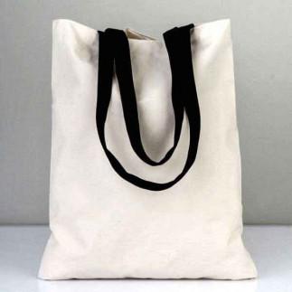 Siyah Askılı Beyaz Bez Çanta - Thumbnail