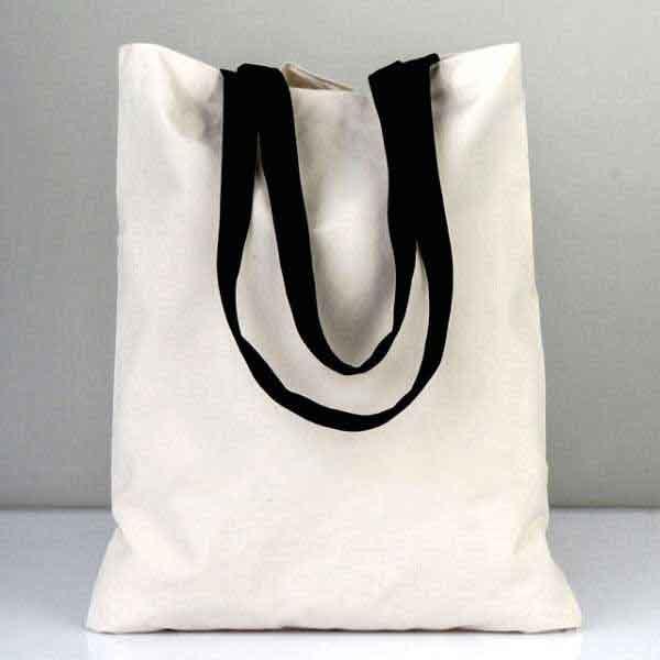 Siyah Askılı Beyaz Bez Çanta