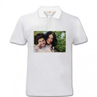 Sublimasyon Beyaz Polo Yaka Pamuk-Polyester Tişört - Thumbnail