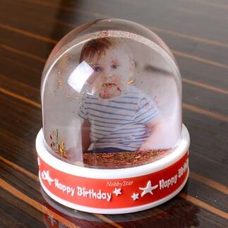 Müzikli Led Işıklı Fotoğraflı Happy Birthday Hediye Kar Küresi - Thumbnail