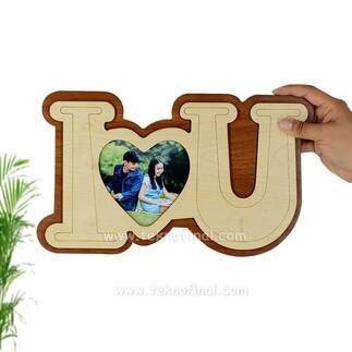 Büyük Ahşap I Love You Çerçeve - Thumbnail