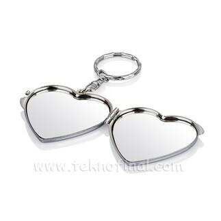 Çift Taraflı Kalp Makyaj Aynalı Anahtarlık - Thumbnail