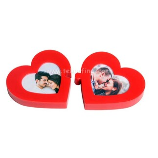 Kırmızı Çift Kalp Puzzle Masaüstü Ve Magnet Fotoğraf Çerçevesi - Thumbnail