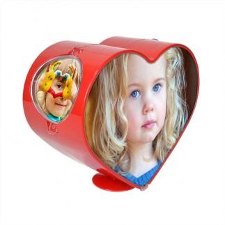 Dönen Battal Boy Kırmızı Kalp Fotoğraf Çerçevesi - Thumbnail