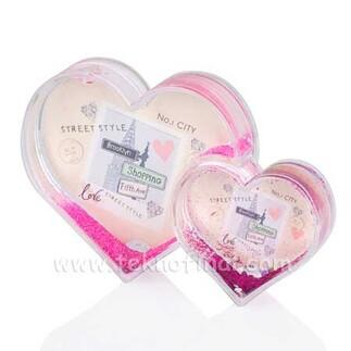 Fotoğraflı İkili Kalp Kar Küresi - Thumbnail