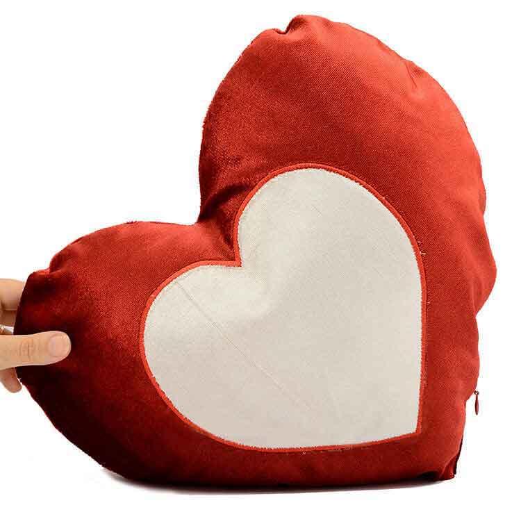 Sublimasyon İpek Kalp İçinde Kalp Yastık