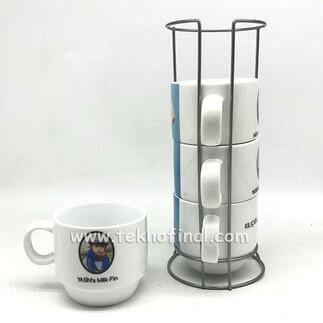 NobbyStar Hediye - Sublimasyon 4'lü Porselen Kahve Fincanı Seti - Kutulu (1)