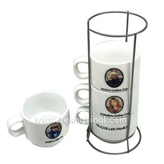 Sublimasyon 4'lü Porselen Kahve Fincanı Seti - Kutulu - Thumbnail