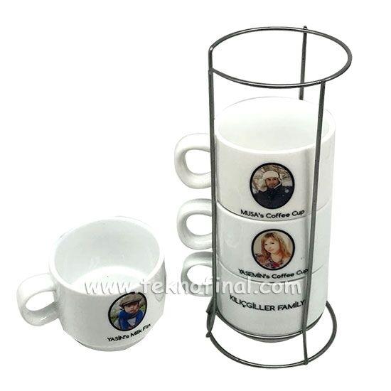 Sublimasyon 4'lü Porselen Kahve Fincanı Seti - Kutulu