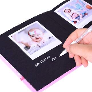NobbyStar Hediye - Kişiye Özel İsimli 12 Yapraklı Beyaz Kalemli Uykucu Figür Bebek Anı Defteri (1)