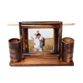 Salıncaklı Bambu Kalemlik Fotoğraf Çerçevesi - Thumbnail