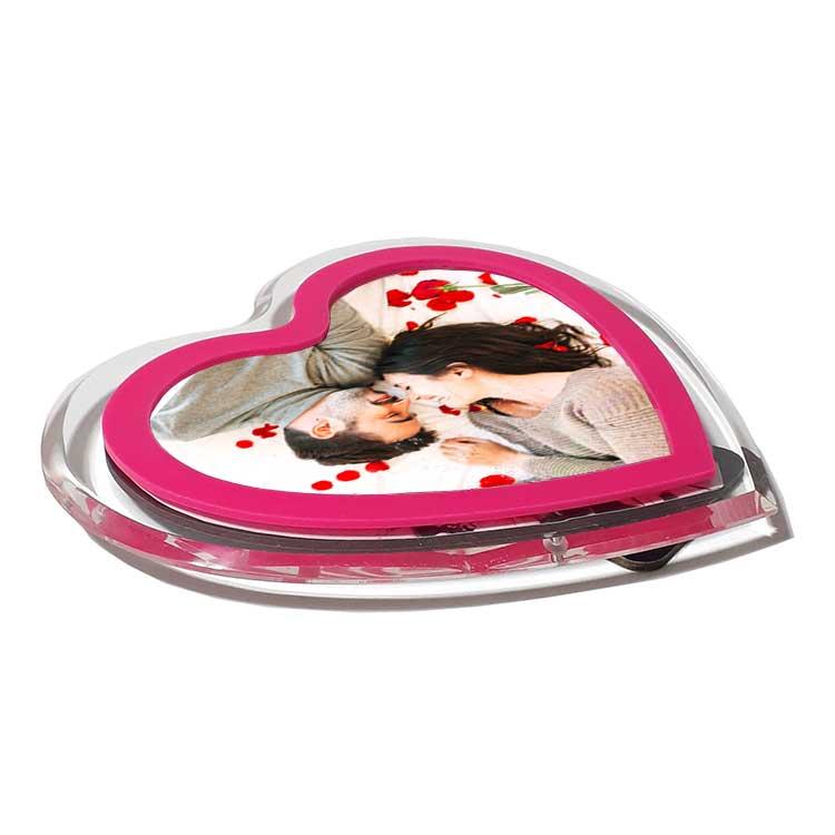 Pleksiglas Pembe Kalp Fotoğraf Çerçevesi - Thumbnail