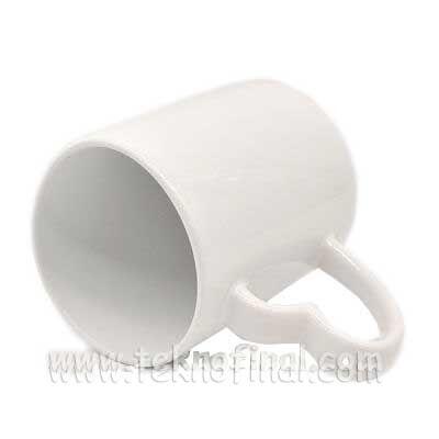 Sublimasyon Kalp Kulplu Porselen Beyaz Kupa