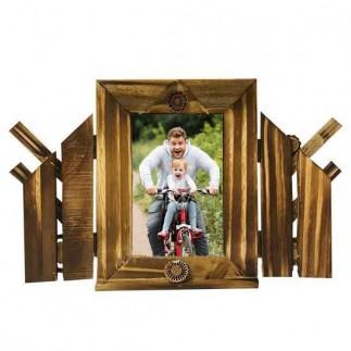 Kapaklı Desenli Bambu Fotoğraf Çerçevesi - Thumbnail