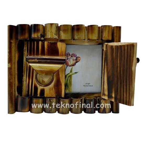Kapaklı Yatay Bambu Fotoğraf Çerçevesi - 10x15